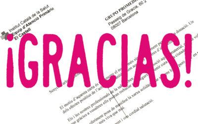 Carta de agradecimiento del Institut Català de la Salut por la donación de pantallas protectoras.