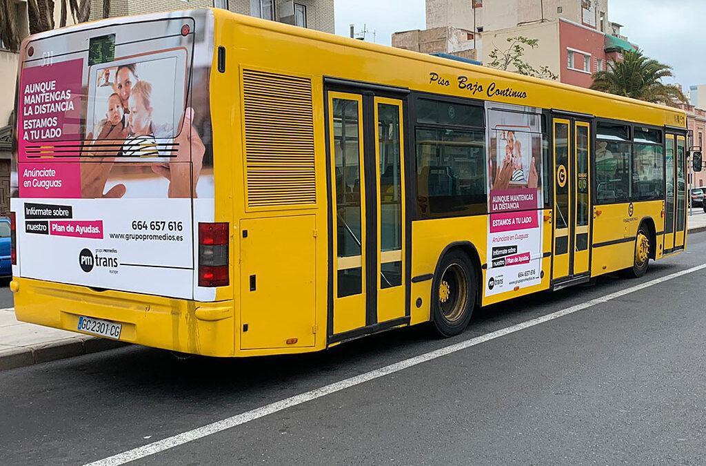 Os presentamos la campaña de Grupo Promedios en las guaguas municipales de Las Palmas